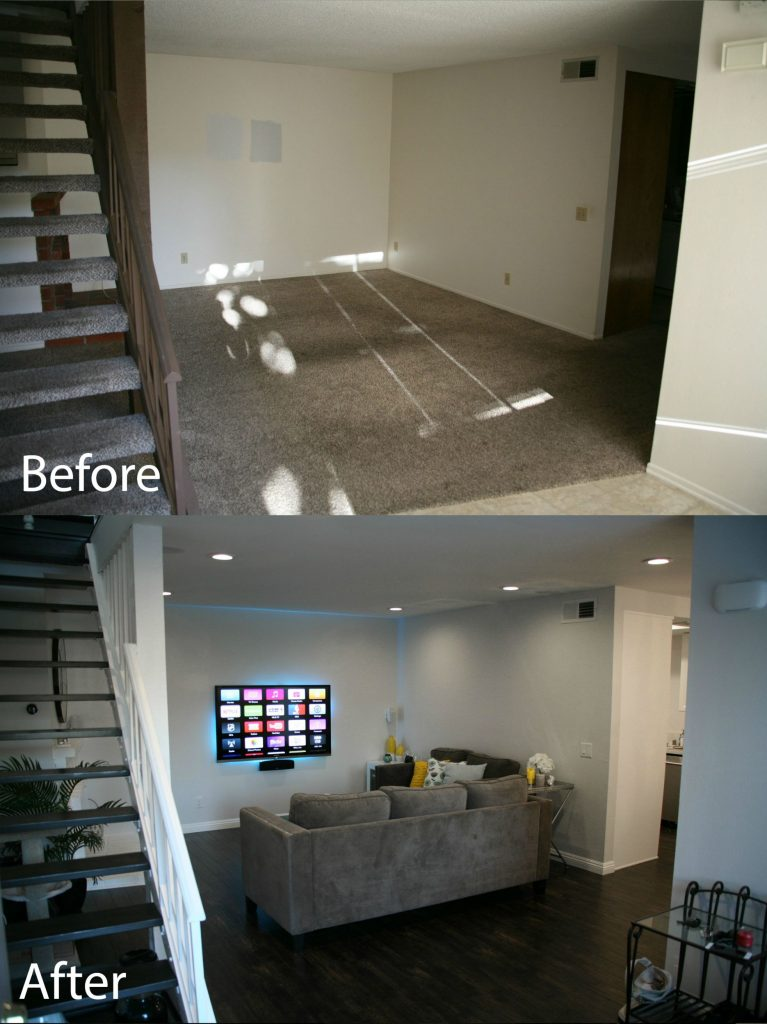 living room before/after