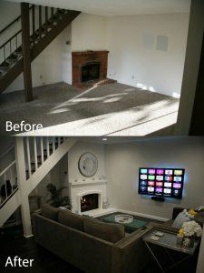 before and after basement renovation and design