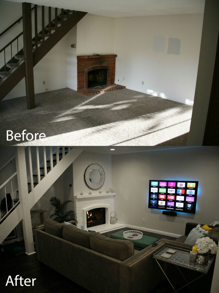 fireplace before/after
